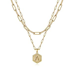 Anoup Layering Gold Necklaces for Women, 14K Gold Plated Paperclip Chain Necklace Dainty Layered Necklaces for Women Hexagon Pendant Letter Initial Necklace Gold Jewelry for Women