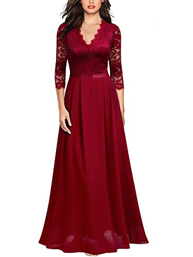 MIUSOL Damen V-Ausschnitt Langes Spitzen Partykleid Hochzeit Chiffon Faltenrock Abendkleid Rot Gr.XL