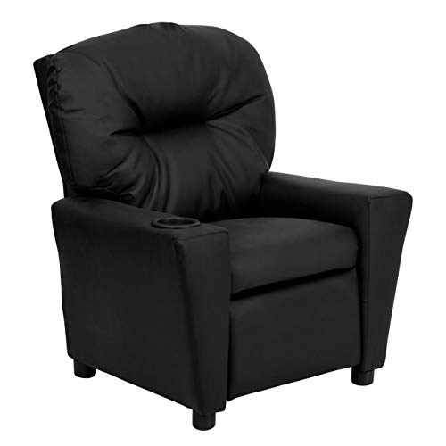 Flash Furniture Black Leather Contemporary Kids Recliner