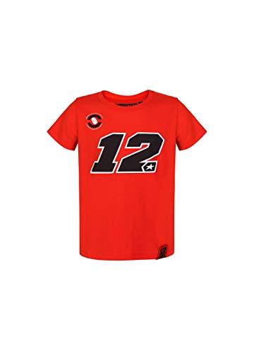 Vr46 Maverick Vinales, T-Shirt Unisex Bambini, Rosso, 12/14