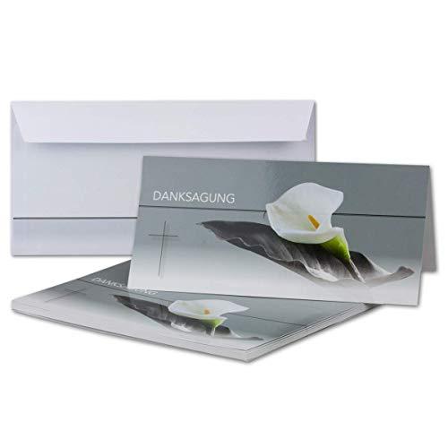 100x bedankkaarten rouw met envelop DIN LANG - met tekst DanksAGUNG - motief rouwbloem met blad - rouwkaartenset - waardige bedankkaart