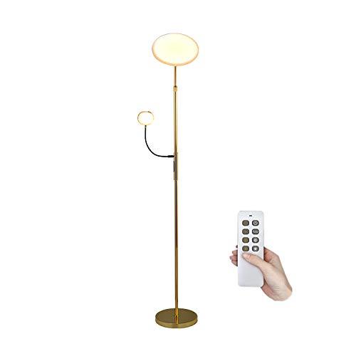 Inteligente Lámpara Pie Salon Regulable Con Control Remoto, 30W LED Dorada Luz de Suelo Táctil Con Lámpara de Lectura 6W, Temperatura Colores 3, Lámpara Alexa Para Dormitorio,Oficina,Altura Ajustable