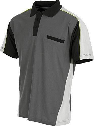 Work Team Polo Linea 5 Combinado en 3 Colores con Vivos Reflectantes. Hombre Gris Oscuro+Gris Claro+Negro L