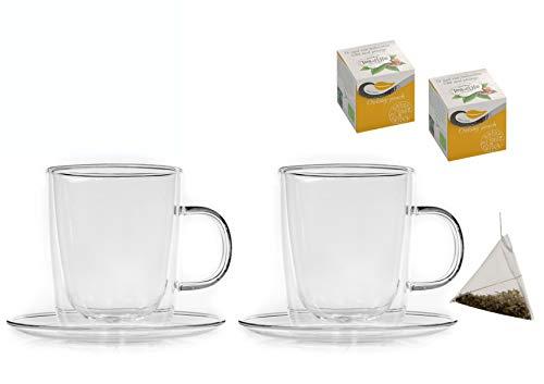 Teeset: 2x 360ml Thermotassen mit Untertassen + 2x Teepyramiden Olong-Peach - doppelwandige Tassen, 2x Tee-Pyramiden Olong Tee mit Pfirsich - by Feelino