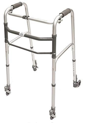 Andador plegable, ajustable en altura con 2 ruedas giratorias y 2 ruedas con sistema de autobloqueo