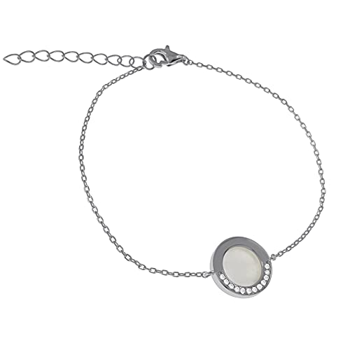 Pulsera de nácar, plata 925 rodiada y óxido de circonio – Mujer – Longitud 19 cm