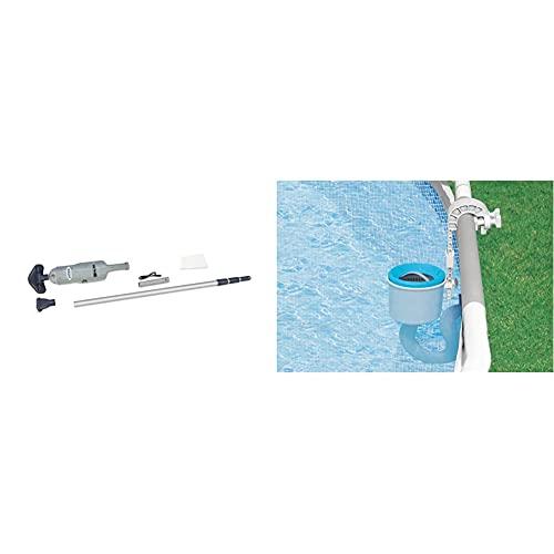 Intex28620 Vacuum Ricaricabile per Spa e Piscine Fuori Terra Fino a 549 cm di Diametro & 28000 Deluxe Skimmer per Pompe Filtro da 3.028 l h, Grigio Blu, 20.96 x 33.02 x 24.13 cm