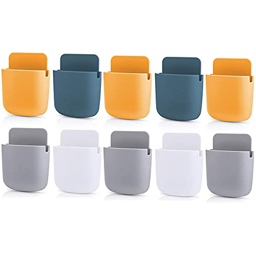 Primelife 10 Pcs Plastic Phone Mobile Organizer Stand, Wall Door Mounted Storage Box, Remote Control Shelf, Toothbrush Box - Multicolour (Phone Holder)(10)