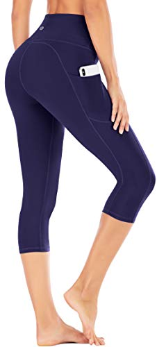 IUGA High Waisted Yoga Pants for Women with Pockets Capri Leggings for Women Workout Leggings for Women Yoga Capris (Navy Blue, L)