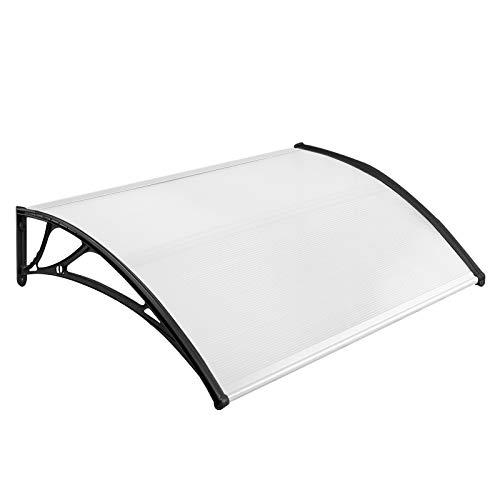 NAIZY 150 x 100cm Vordach für Haustür Pultbogenvordach Überdachung Haustür aus Polycarbonat und Aluminium Rahmen für Garage Balkon Fenster Haus - Schwarz