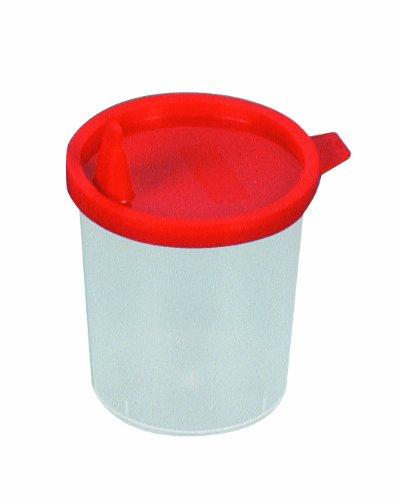 100x Urinbecher, Sammelbecher 125 ml mit rotem Schnappdeckel, mit Ausguss