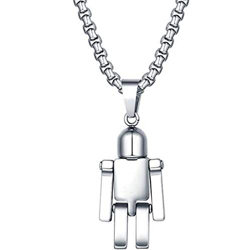 Stainless Steel Robot Style Pendant Statement Party Necklace (Silver)