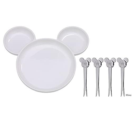 WMF Disney Mickey Mouse Kindergeschirrset 5-teilig, Teller mit 4 Picker, Porzellan, Cromargan Edelstahl poliert, spülmaschinengeeignet
