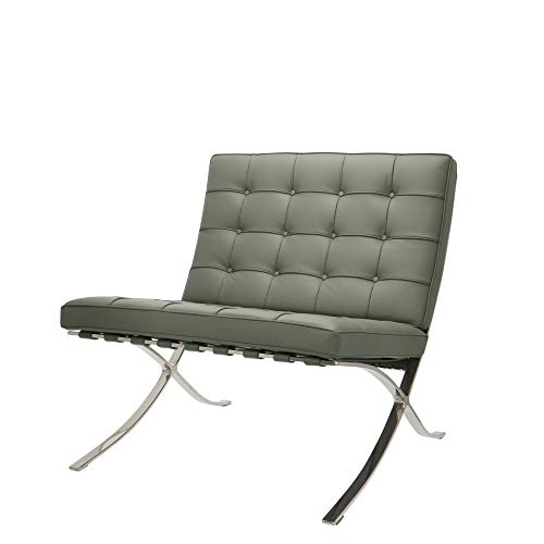 Popfurniture Barcelona Chair aus echtem Leder | premium Relaxsessel, Loungesessel, Cocktailsessel & Clubsessel | Idealer Barcelona Sessel, Barcelona Chair Replik, Barcelona Stuhl, Barcelona Sofa