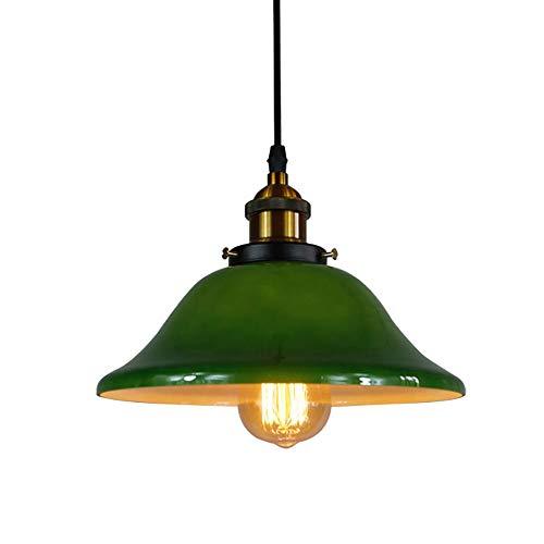 Vintage Industrie Hängelampe mit Glas Lampenschirm, Pendelleuchte Deckenleuchten/Küche Restaurants Cafe Pavillons E27 Lampen Hanging Fixtures Grün