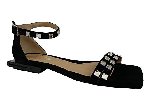 WO MILANO Sandalo Donna Basso Nero Nero Art 305 100% Pelle Made in Italy (Numeric_37)