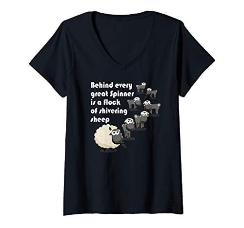 Womens Hand Spinning Roving & Dyeing Great Spinner Shivering Sheep V-Neck T-Shirt