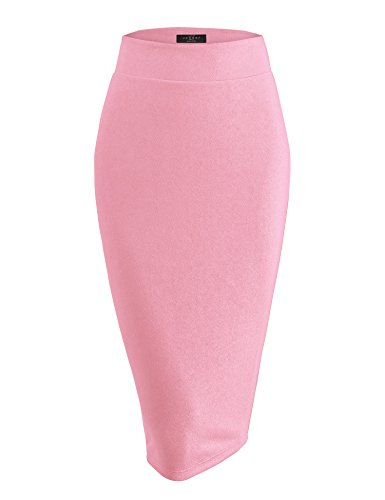 WB1579 Womens Slim Fit Solid Texture Midi Pencil Skirt - Made in USA S Rose