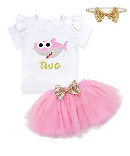 Baby Girls Birthday Shark and Doo Doo Doo T-Shirt + Tutu Dress 2nd Birthday Outfit Set 2 T