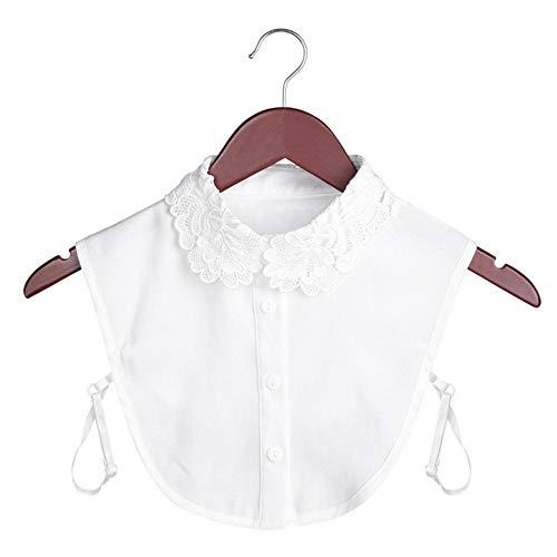 Damenbluse aus Baumwolle mit Spitze, Vintage-Stil, abnehmbar, Hemdkragen, falscher...