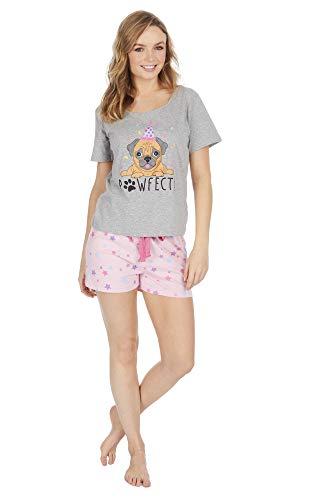 Damen Mops/Lama Sommer Schlafanzug Set (L ca EU 44-46, Mops Shorts PJ Set)