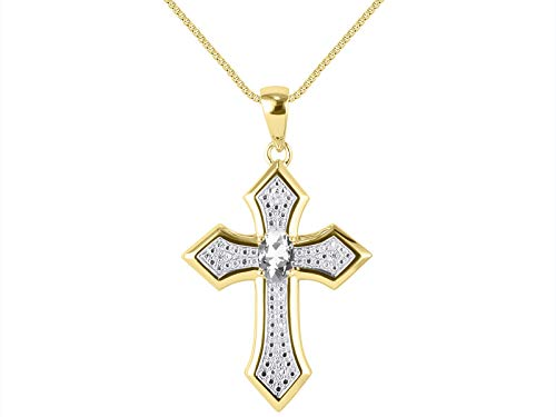 RYLOS Necklaces for Women 14K Yellow Gold Cross Necklace Gemstone & Genuine Diamonds Pendant With 18' Chain 7X5MM White Topaz April Birthstone Womens Jewelry Gold Necklaces For Women
