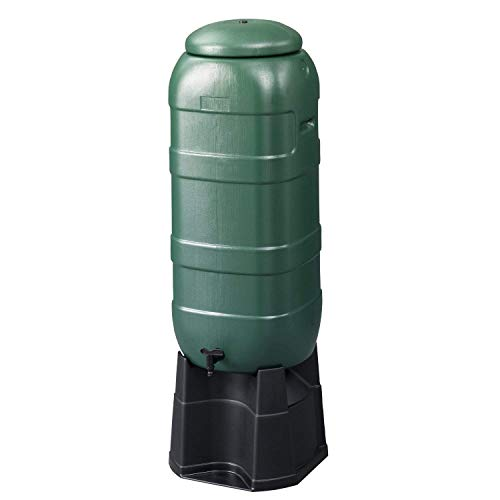 Rubyz 100L Compact Water Butt/Barrel   Outdoor Gardening Watering Space-Saving Rain Water Storage Tank with Tap Hose Diverter Stand Kit - Green
