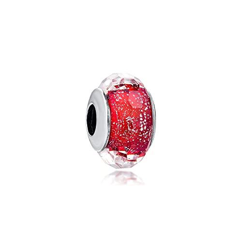 LIIHVYI Pandora Charms para Mujeres Cuentas Plata De Ley 925 Bricolaje De Vidrio Rojo Brillante Compatible con Pulseras Europeos Collars