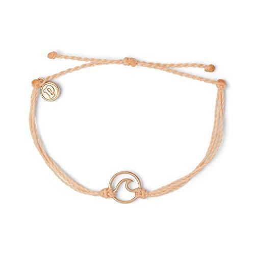 Pura Vida Rose Gold Wave OG Bracelet - Plated Charm, Adjustable Band - 100% Waterproof (Rose Gold Blush)