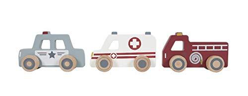 Tiamo Little Dutch 4388 Holz Einsatzfahrzeuge Spielzeugautos, 3 Stück, Krankenwagen, Polizei & Feuerwehr