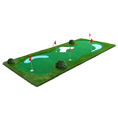 WLH- Golf Practice Mat Slaan Mat for Outdoor Indoor Golf Training Aids Green Artificial Green Indoor Golf Zandbak en Puddle Ontwerp Putting Exerciser (150x350cm)