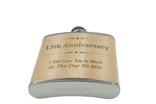 13th Anniversary Hip Flask 13 Year Anniversary Gift For Him