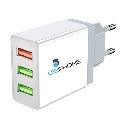 Cargador USB – Carga rápida 3 puertos universal enchufe adaptador (5 V 3 A Max) compatible con Apple, Samsung, Nexus, Nokia, Huawei, Xiaomi, HTC, Sony, LG...