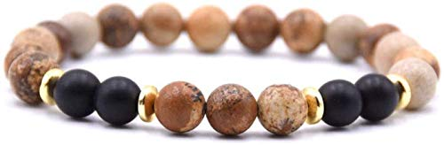 Plztou Pulsera de Piedra Mujer, 7 Chakra Piedra Natural Bead Shale Brazalete Brazalete Elástico Yoga Lucky Bracelet Golden Hoop Jewelry para Damas Regalo de Pareja de Navidad