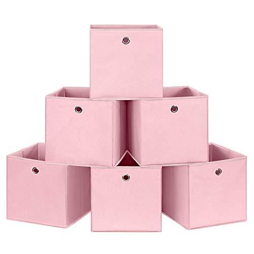 SONGMICS Aufbewahrungsboxen, 6er Set, Faltbare Stoffboxen, Faltboxen aus Vliesstoff, Würfel, Aufbewahrungskörbe, für Spielzeug und Kleidung, rosa RFB02PK-3