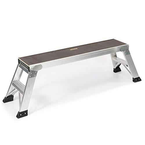 Jumbo® Plataforma de trabajo de aluminio y madera, 130 x 30 cm, altura 0,52 m, plegable, escalera, plataforma de trabajo