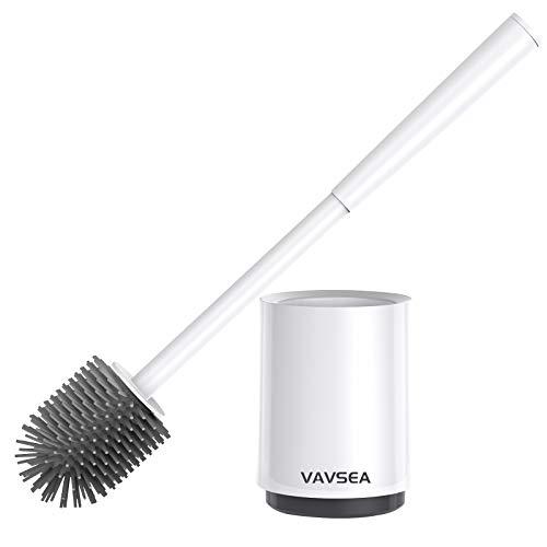 VAVSEA Toilettenbürste mit Halter Wandmontage & Stehen,WC Bürste und Behälter, Silikon Klobürste für Badezimmer mit schnell trocknendem Haltersatz (1 Piece Set)