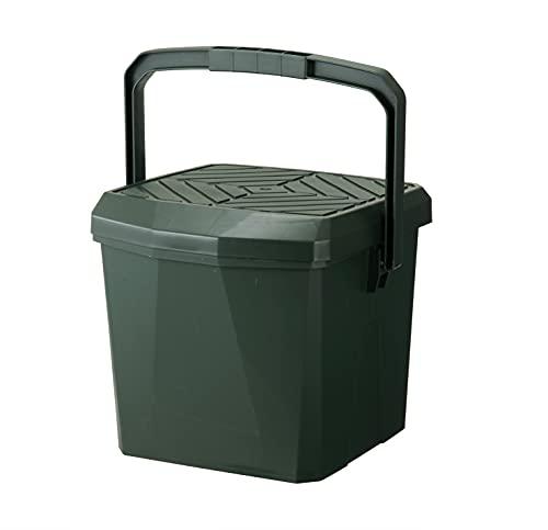 トンボ バケツ 3Way 多機能 収納 椅子 踏み台 アウトドア 18L 中バケツ付 モスグリーン 日本製