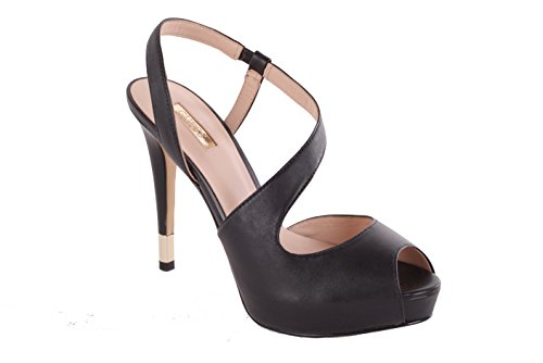 GUESS Damen Pumps Highheels Stilettos Riemchenpumps Plateau Schwarz (39)