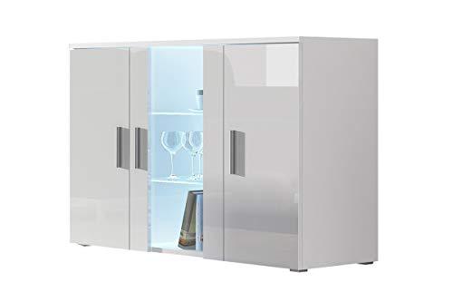 Furniture24 Kommode mit Blauer LED Beleuchtung SOHO S7 Sideboard Schrank Wohnzimmerschrank mit 3 Türen (Weiß/Weiß Hochglanz)