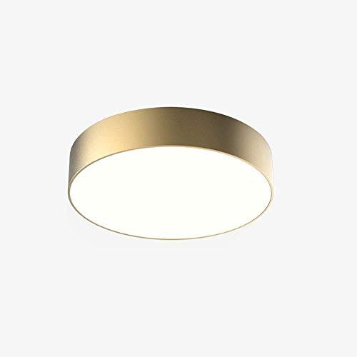 Moderna lámpara de techo LED de 24 W, acabado dorado mate, montaje en superficie redonda, de acrílico, lámpara para cocina, comedor, oficina, pasillo, luz blanca 6000 K