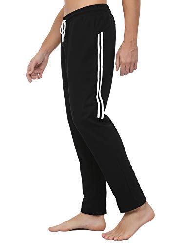 Sykooria Men's Cotton Joggers Sweatpants Lounge Running Yoga Striped Pants Drawstring Sweat Pants Pocketed Straight Pants Black