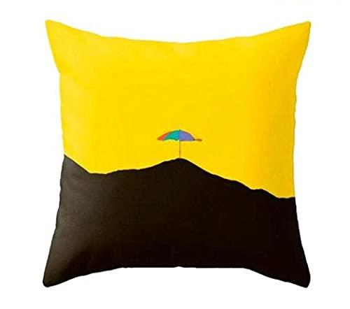 FBDBGRF Funda Cojin Paraguas Negro Amarillo,2 Fundas Cojines Decorativos para Sofa Terciopelo Sencillo Y Decorativo Cojines Hojas para Sofá Camas Dormitorio Coche 45X45Cm,