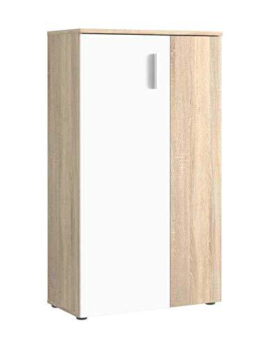 Schuhschrank Schuhkommode | Dekor | Eiche Sonoma | Weiß | 2 Türen