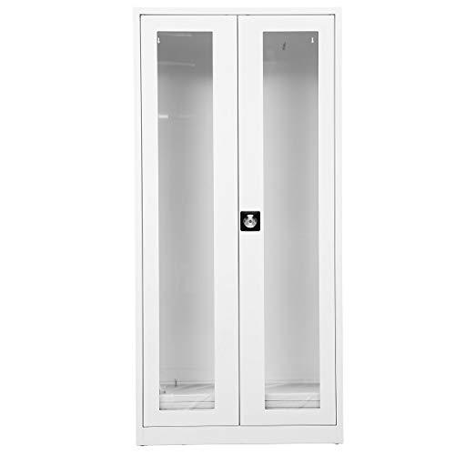 Certeo Medikamentenschrank mit Glaseinsatz | HxBxT 195 x 92 x 42 cm | Weiß | Medizinschrank Arzneischrank Erste-Hilfe-Schrank