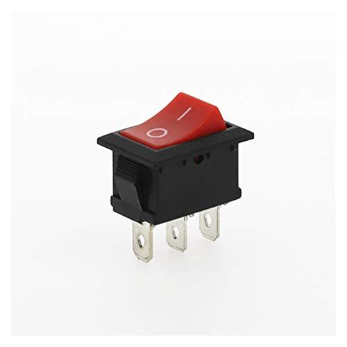 YSJSPKK Interruptor basculante 5PCS KCD1 3 Pines del Coche Interruptor oscilante 6A / 10A 250V / 125V AC Rojo Amarillo Verde Azul Botón Negro El Mejor Precio KCD1 (Color : Red 2D3P)
