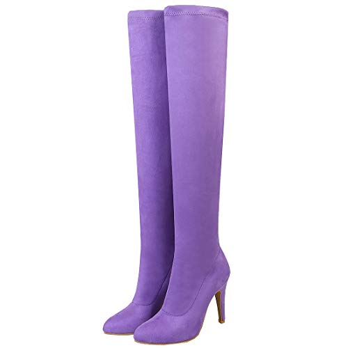 Overknee Stiefel High Heels Stiletto Stretch Boots mit 10cm Absatz Hohe Stiefel Winter Schuhe(Lila,38)