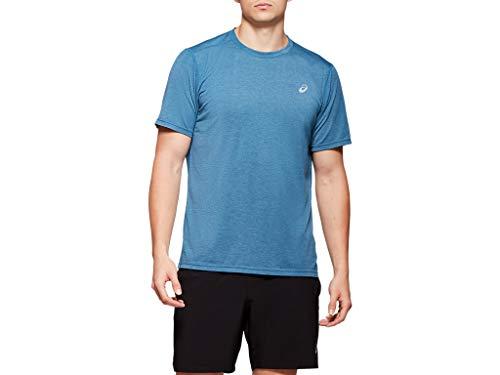 ASICS Men's Performance Run Top Running Clothes, L, MAKO Blue Heather