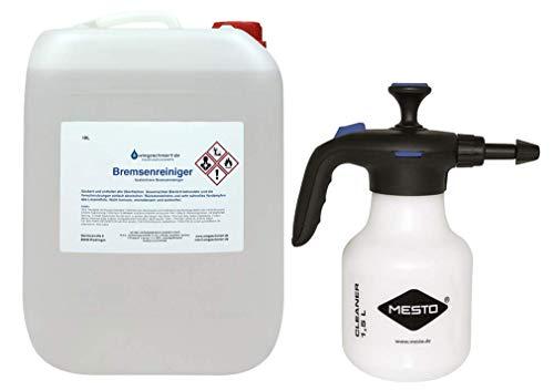 Knaus Schmierstoffe Bremsenreiniger 10 Liter Kanister 10L Reiniger + 1,5L Mesto Druckspritze Sprühflasche
