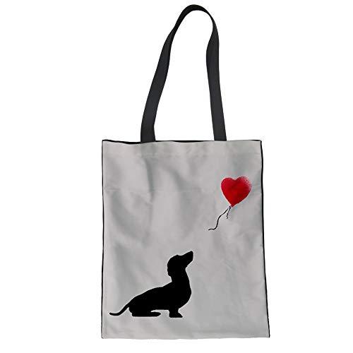 Nopersonality Schulter Leinwand Baumwolle Stofftaschen Einkaufstaschen Jutebeutel für Damen Mädchen Dackel Hunde Muster Alt-Weiß